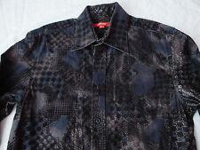 Textured Black Geometric Paisley Long Sleeve Button Down Shirt - Small Mens S
