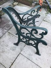 VINTAGE CAST IRON BENCH ENDS IN GREEN