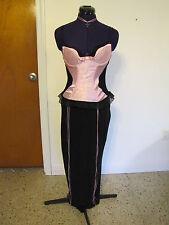 Pink Sexy Corset Bustier Madam Maiden Vampire Cross Necklace Halloween Costume S