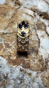 18K Italian G Sapphire & Topaz Ring Sz 6