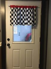Black And White Checkered Window Valance Cotton Handcrafted
