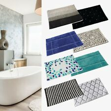 Bath Mat Cotton Luxury Large Runner Patterned Washable Anti Slip Absorbent Rug