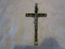 "Antique Crucifix 6.25"" Ebony Wood Silver Frame Priest Nun German Skull & bones"