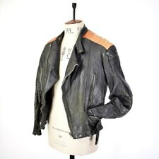Men's VTG Black 70s Distressed REAL LEATHER Motorcycle Biker CAFE RACER Jacket M