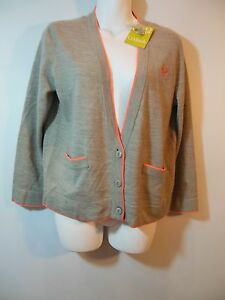 Embroidered Light Cardigan Sweater Junior size L Gray Coral v neck
