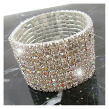 10 ROW -  Bling Bracelet Wedding Bridal Silver Prom Formal Crystal Diamante J333