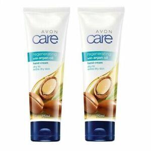 Avon Care 2 x 75ml - Regenerating Argan Oil Hand Cream - New