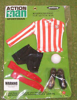 VINTAGE ACTION MAN 40th SPORTSMAN CARDED FOOTBALL CLUB STRIPED RED & WHITE