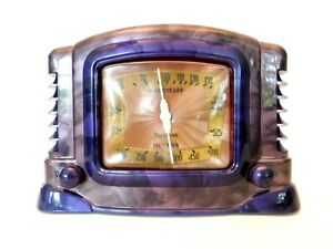 VINTAGE 1940s ANTIQUE TRUETONE ART DECO & SWIRLED CATALIN COLORS BAKELITE RADIO