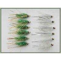 Trout Flies,12 Gold head Fritz Sparkle, Green & White, Size 10, Fishing Flies