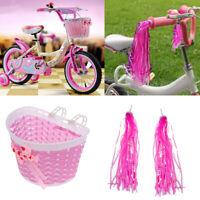 Girls Bike Retro Pom Pom Tassels Streamers + Front Handlebar Basket Pink