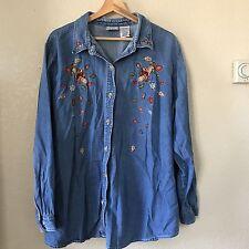 Bobbie Brooks Denim Button Up Long Sleeve Thanksgiving Fall Shirt Women's 22/24W