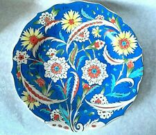 VINTAGE IZNIK KUTAHYA POTTERY PAINTED LARGE WALL CHARGER SIGNED