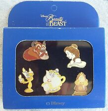 BEAUTY AND THE BEAST 5 PIN SET FROM EURO DISNEY, BELLE, MRS POTTS W/CHIP & MORE