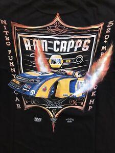 """NHRA DRAG RACING """"NITRO FUNNY CAR"""" RON CAPPS T- SHIRT BLACK  SIZE MEDIUM"""