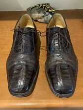 Belvedere Mens Lace Shoes Genuine Crocodile with Ostrich Brown 11