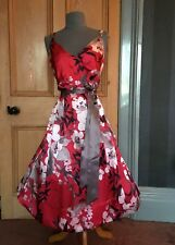 "GORGEOUS MONSOON ""SWEETPEA"" SILK FLORAL PRINT EVENING DRESS, SIZE 14"