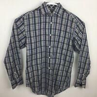 Thomas Dean Plaid Mens Small Long Sleeve Button Front Shirt Flip Cuffs