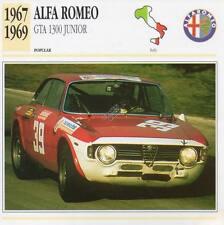 1967-1969 ALFA ROMEO GTA 1300 JUNIOR Classic Car Photograph / Info Maxi Card