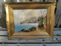 Vintage Atq Coastal View, Signed Original Watercolour Painting Ornately Framed