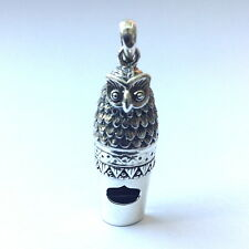 VICTORIAN STYLE OWL WHISTLE PENDANT 925 STERLING SILVER