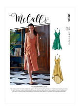 McCall's 8105 Sewing Pattern to MAKE Tie-back faux wrap dresses with length vari