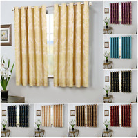 Ring Top Jacquard Short Window Curtains Bedroom Living Room Lined Curtain Pair