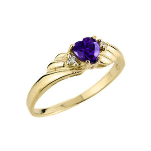 Ladies 14K Gold February Birthstone 0.64ct Amethyst Gemstone and Diamonds Ring