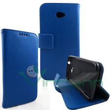 Custodia BLU pelle per HTC Desire 601 BOOKLET stand+tasche porta schede cover