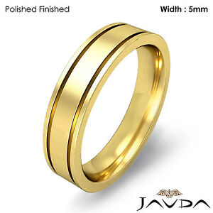 Flat Fit Solid Ring Men's Wedding Plain Band 5mm 14k Yellow Gold 7.9g 12-12.75