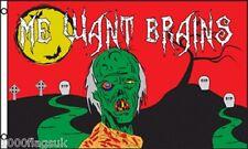 "Flesh Eating Zombie ""Me Want Brains"" 5'x3' Flag !"