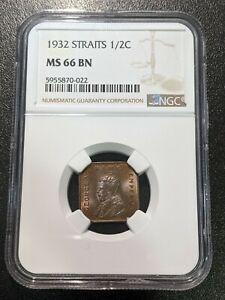 1932 MS66 BN Straits Settlements 1/2 Cent KM 37 NGC UNC George V