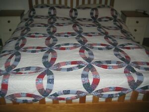 """VINTAGE ARCH QUILTS ELMSFORD NEW YORK DOUBLE WEDDING RING QUILT * 85"""" x 82"""""""