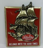 Vintage Falls City Beer 3-D Advertising Bar Sign Sailing Ship Schooner