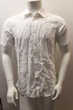 Guess Men's Casual Short Sleeved White Cotton Shirt M FU2D28