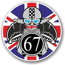 Retro cafe racer 1967 ton up club union jack drapeau cocarde vinyle voiture vélo autocollant
