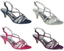 Women's Satin Strappy, Ankle Straps Standard (B) Heels