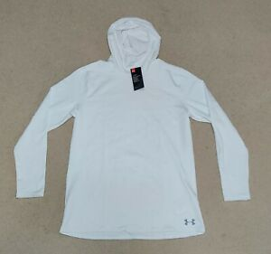 Men's Under Armour Fitted ColdGear White Hoodie 1320814-100 Size X-Large Dri-Fit