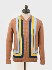 Art Gallery Clothing,Hawks Knitted Zip Cardigan,Tobacco, Mod, 60s, Retro-SALE