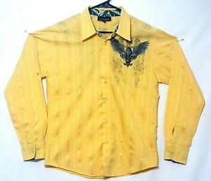 2 JAGUARRS  long sleeve Mens Medium  button up  yellow size M   Made in U.S.A.
