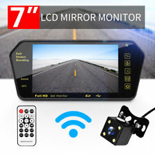 "WIRELESS CAR BUS VAN REAR VIEW KIT 7"" LCD MIRROR MONITOR + REVERSING CAMERA HD"