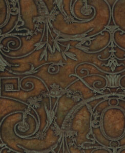 Espresso Treen Ironwork Scroll Wallpaper PSN105036 - per Double Roll
