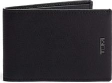 Tumi Nassau Single Billfold Black Textured Leather Wallet $125 NIB RFID ID Lock