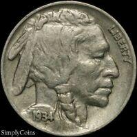 1934 Indian Head Buffalo Nickel ~ VF Very Fine ~ US Coin