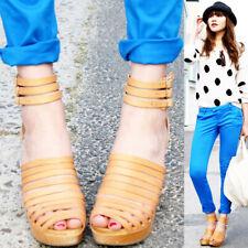 SWEDISH HASBEENS H&M Clog Sandal Gladiator Ankle Strap Platform Wedge Tan 38 7