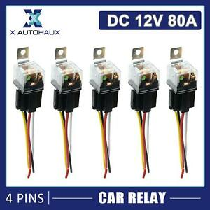 5pcs Waterproof DC 12V 80A SPST Auto Car Relay 4 Pin 4 Wires w/ Harness Socket