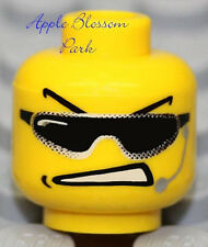NEW Lego Male MINIFIG HEAD Boy w/Sunglasses & Mic -City Police Agents/Dino/Space