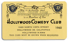 Milton Berle Membership Card to the Hollywood Comedy