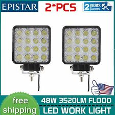 2X 48W Flood Square LED Light Bar Driving/Fog SUV UTE Tractor Boat Offroad best