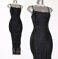 KAREN MILLEN Black Gatsby 20's Spider Web Beaded Crochet Cocktail Dress 2 UK10